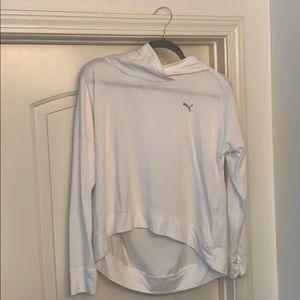 Hi low crop white puma hoodie